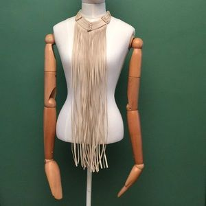 Jewelry - H&M Fringe Faux Leather Necklace